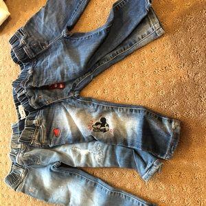 3 pairs of girls baby gap jeans, 2 years